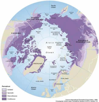 Arctic permafrost map