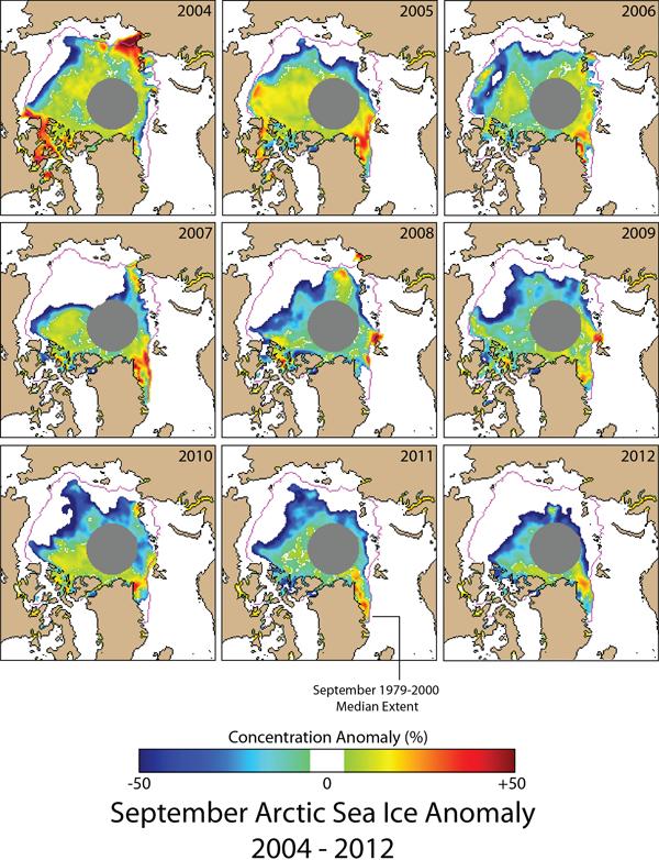 Sea ice extent maps 2004-2012