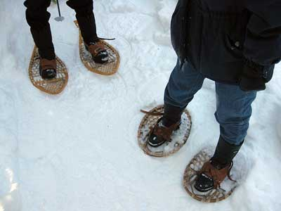 Teardrop and bearpaw shaped snowshoes