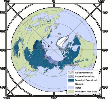 Subsea permafrost.