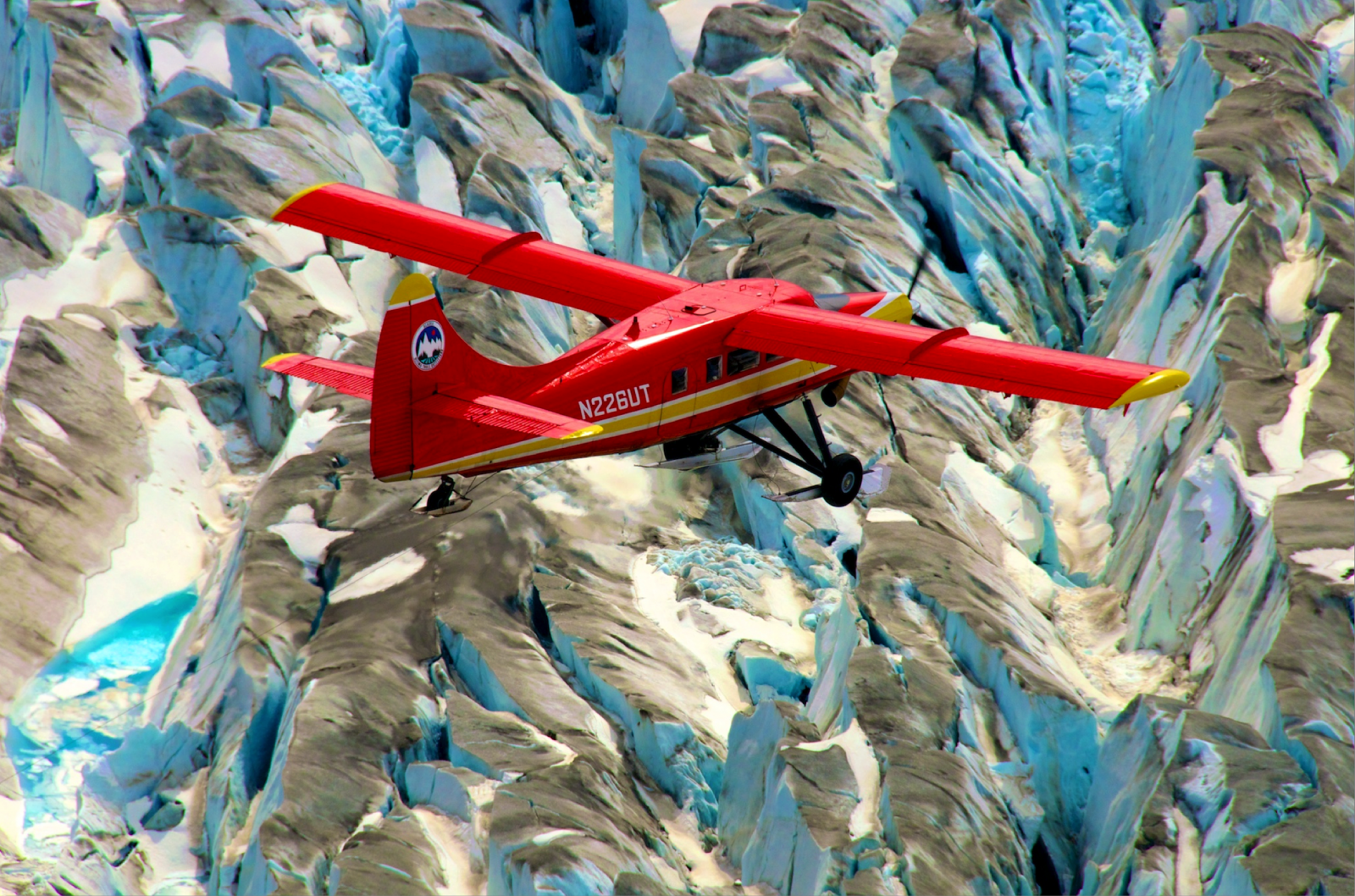 An IceBridge plane flies over Alaska