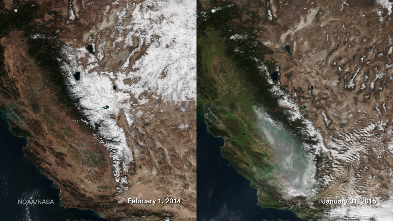 VIIRS data images of Sierra Nevada snowpack, comparing 2014-2015