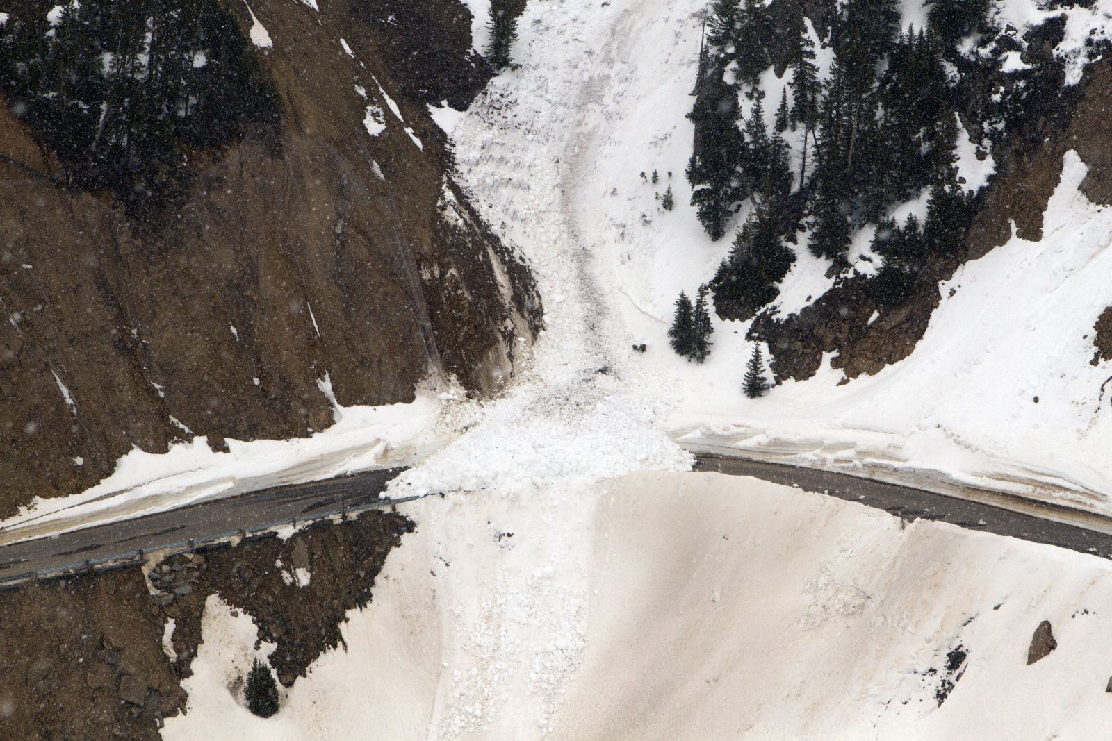 Photograph of a detonated avalanche, designed to prevent larger more destructive avalanches