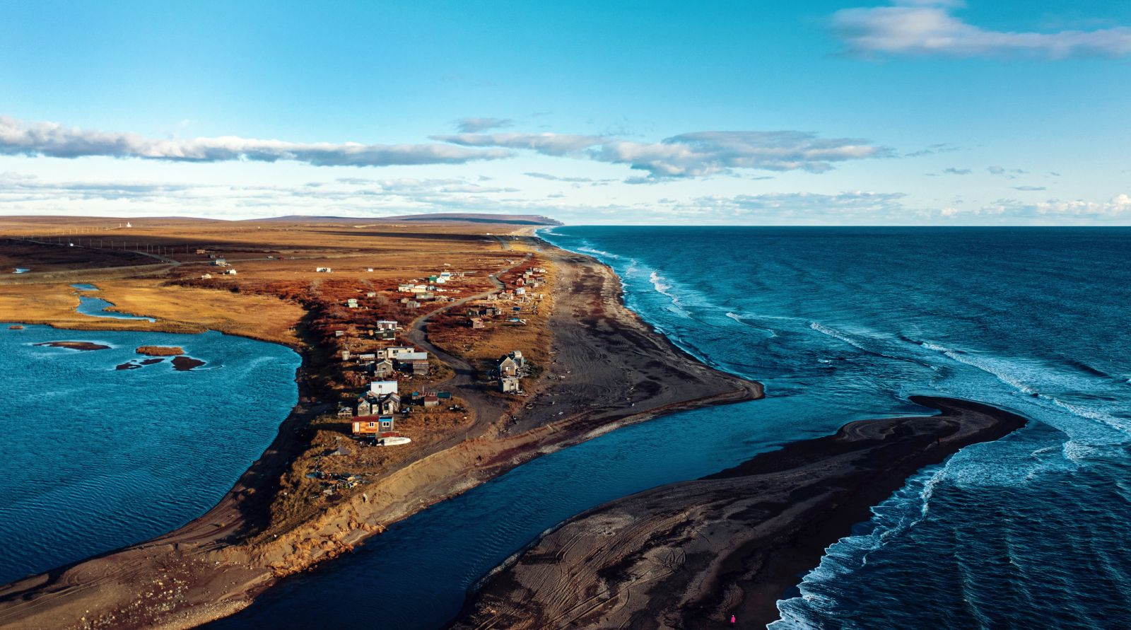 The Nome River enters the Bering Sea