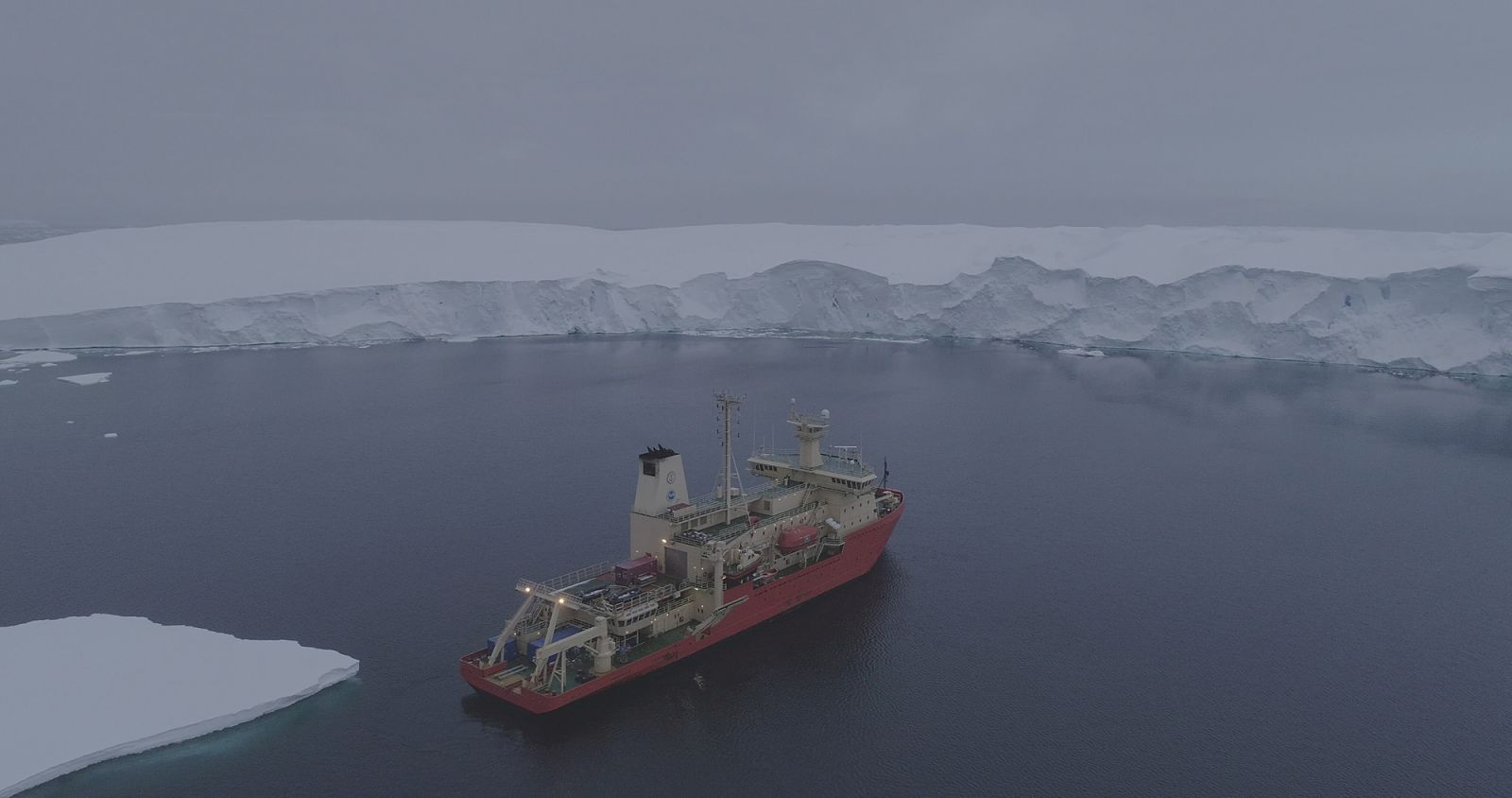 The Nathaniel B. Palmer, the icebreaker that carried Snow to Thwaites Glacier in Antarctica, at the ice front of the Thwaites ice shelf.