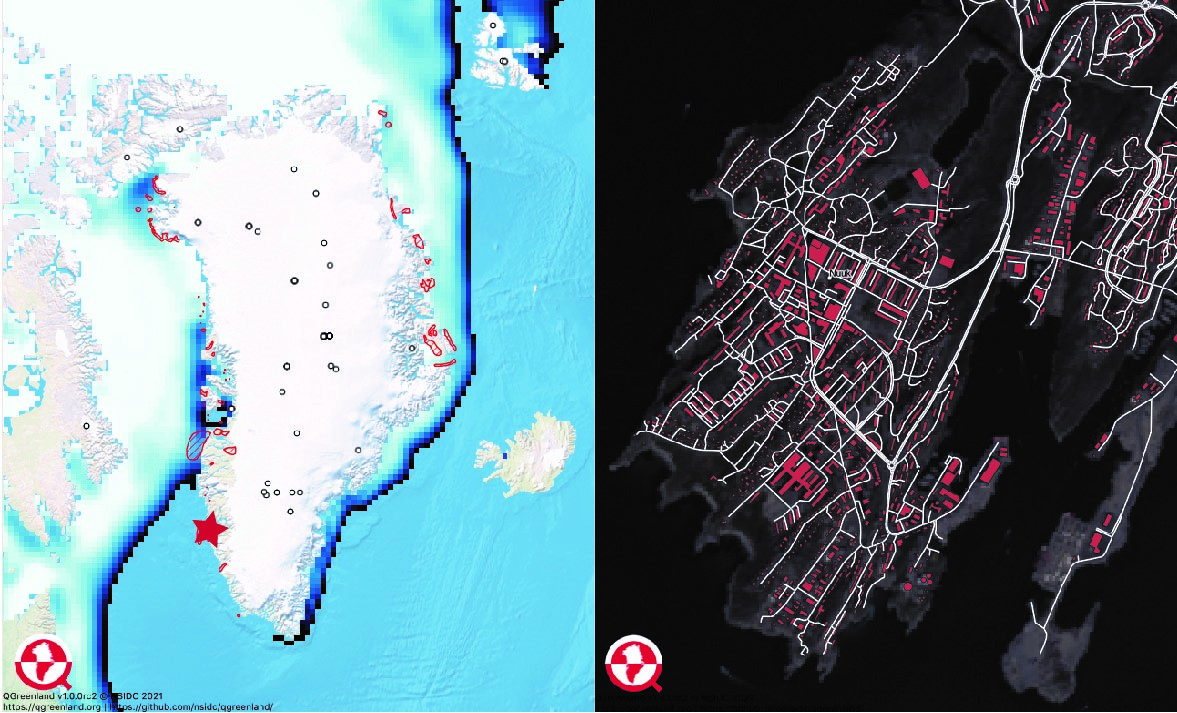 QGreenland allows for looking at data like sea ice concentration, bird protected areas and ice core locations on a large island-wide scale (left) or browsing on a local community level (right). The image on the right shows roads and buildings in Nuuk, Greenland. Credit: Twila Moon | High-resolution image