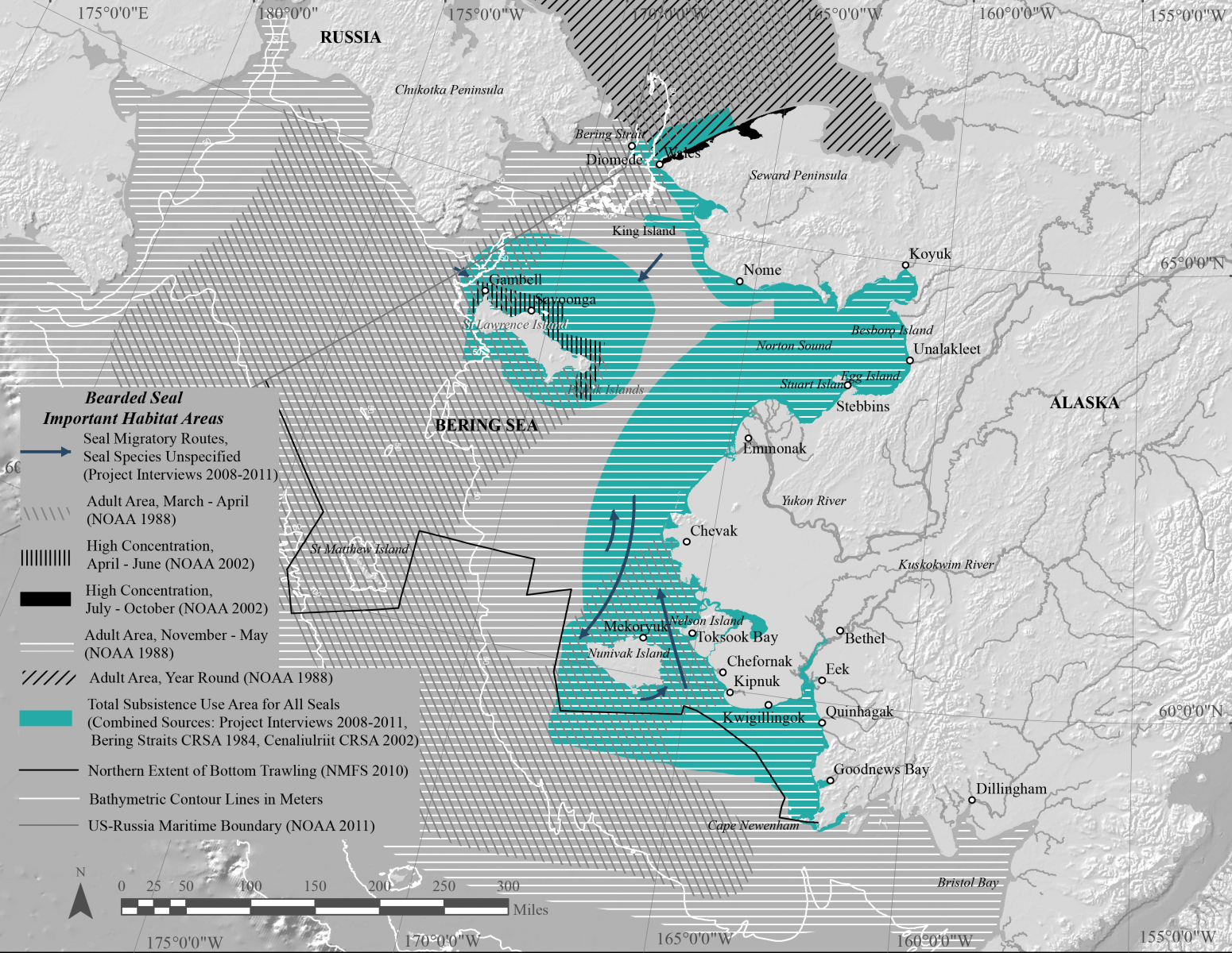 map of bearded seal habitat