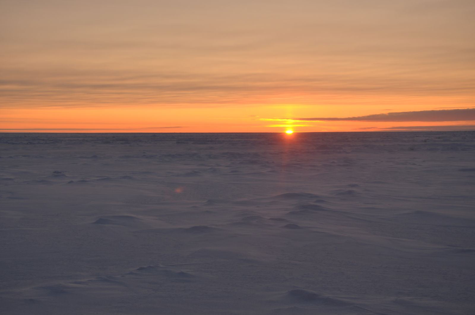 "The sun rises over Arctic sea ice. In the far north, the sun never rises much higher than the horizon— creating a perpetual ""golden hour"" during the day."