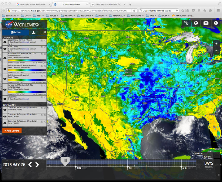 Screenshot of SMAP soil moisture data visualized in Worldview
