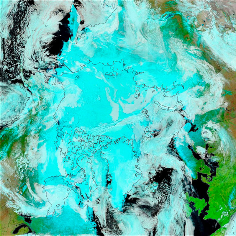 VIIRS false-color image of the Arctic Ocean