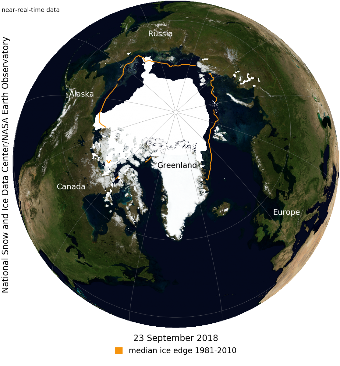 Data image showing Arctic sea ice extent for September 2018