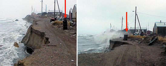 Coastal erosion photos two hours apart