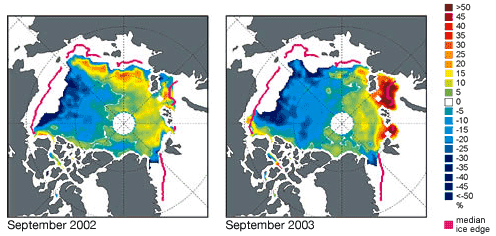 Arctic sea ice concentration anomalies in September 2002 and September 2003