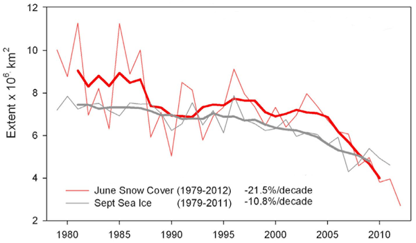 June snow cover and September sea ice extents