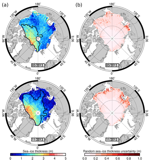 Sea ice thickness and uncertainty maps