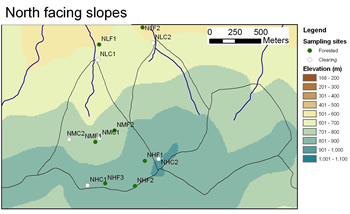 Map showing site locations on southern slopes