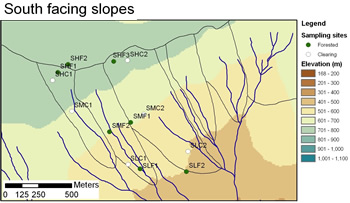 South facing  slopes location map