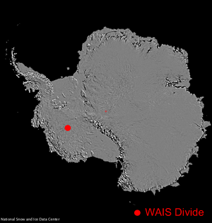 map with red dot showing ice core location