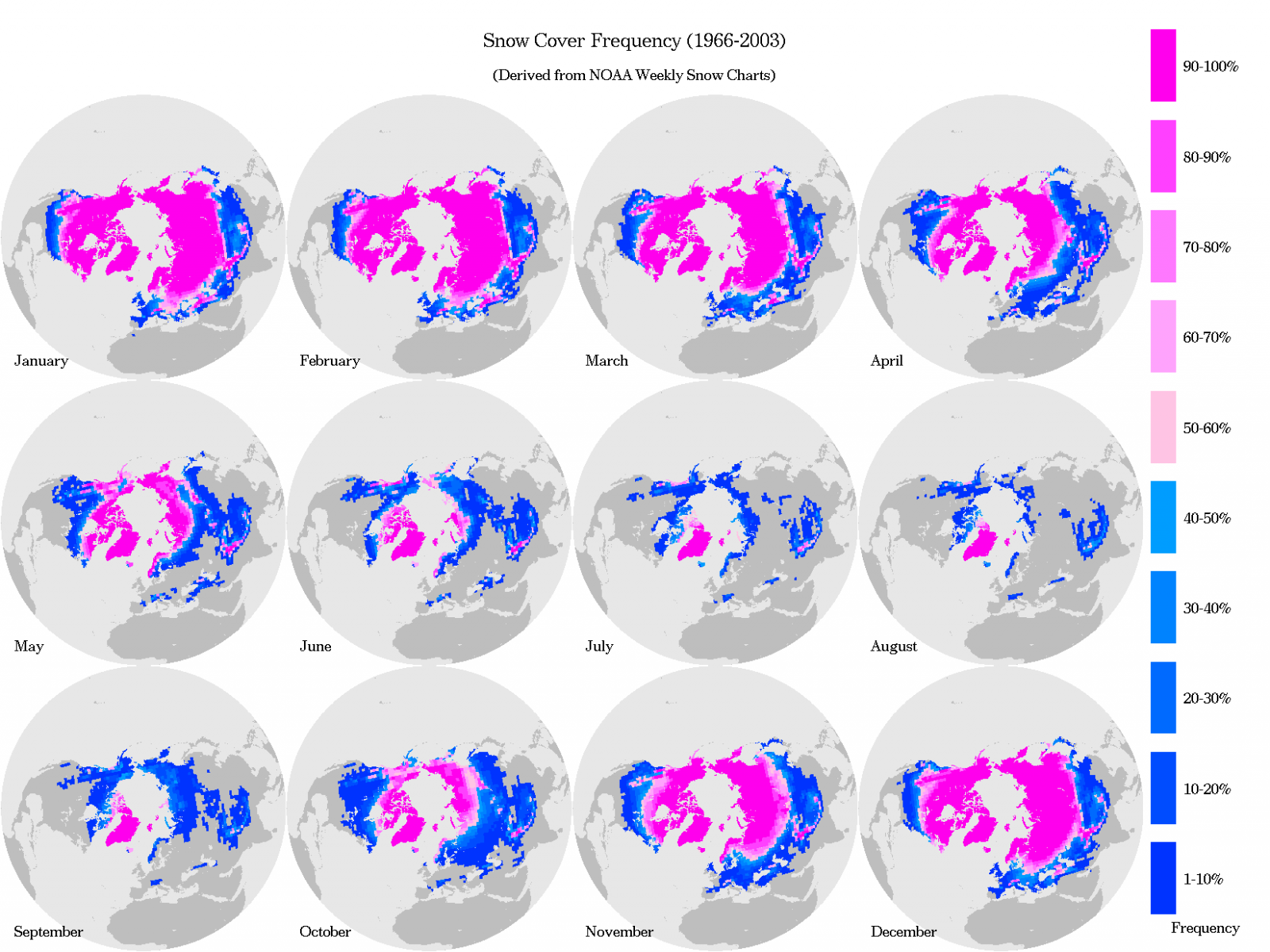 National snow and ice data center long term snow cover frequencies 1966 2003 derived from northern hemisphere ease grid weekly snow cover and sea ice extent version 2 data madrichimfo Images