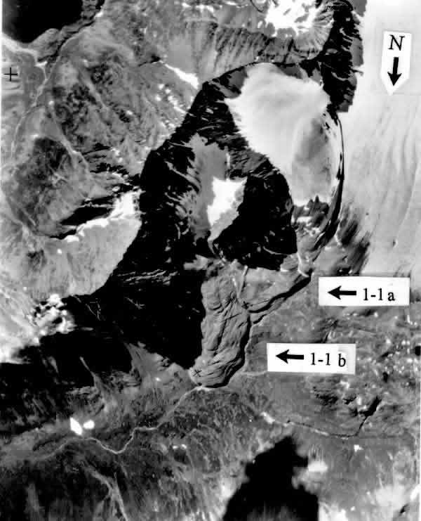 Figure 4: Aerial photo of rock glacier 1a, 1b in this study.