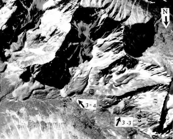 Figure 5: Aerial photo of rock glaciers 3-3 and 3-4.