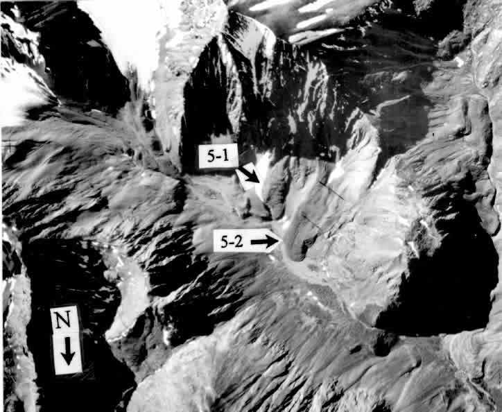 Figure 6: Aerial photo of rock glaciers 5-1 and 5-2.