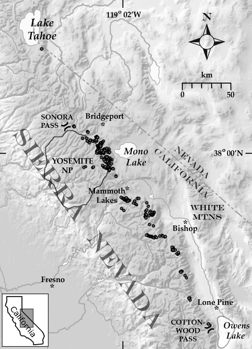 Location of rock-ice features in the Sierra Nevada