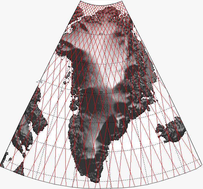 Map of ICESat orbital tracks over Greenland