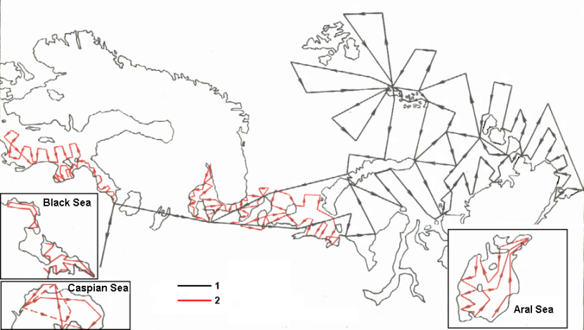 Scheme of of the standard flight paths in the Western part of the  Russian Arctic, Baltic, Black, Caspian and Aral Seas