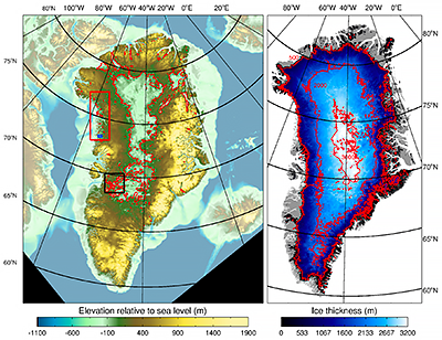 Elevation and bathymetry, ice thickness maps of Greenland