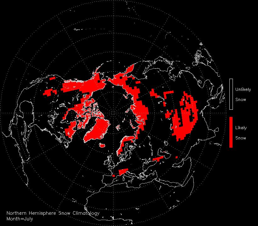 July snow climatology of the Northern hemispere