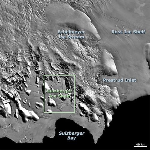 Sulzberger Ice Shelf map