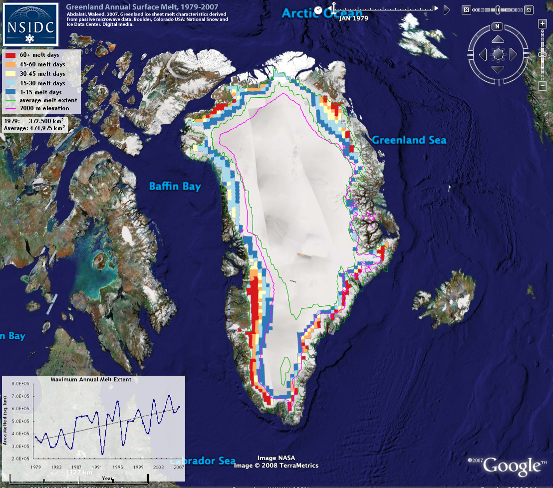 Nsidc data on google earth national snow and ice data center greenland annual surface melt 1979 2007 gumiabroncs Gallery