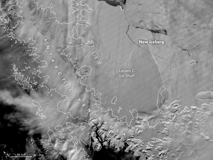 VIIRS data image of Antarctic iceberg A-68 breaking off Larsen C Ice Shelf, July 2017