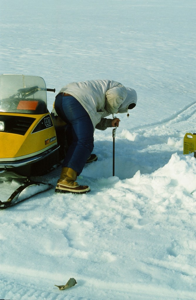 Photograph of researcher conducting field work on St. Patrick Bay ice cap