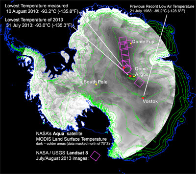 Map of the coldest temperature measurements in Antarctica