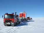 trucks driving across antarctica
