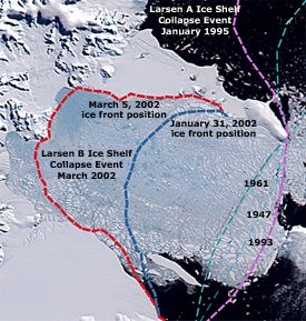 larsen b image showing extent in different years