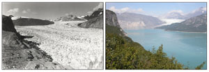 two photos of same valley taken from same location showing changes, as described in caption, over time