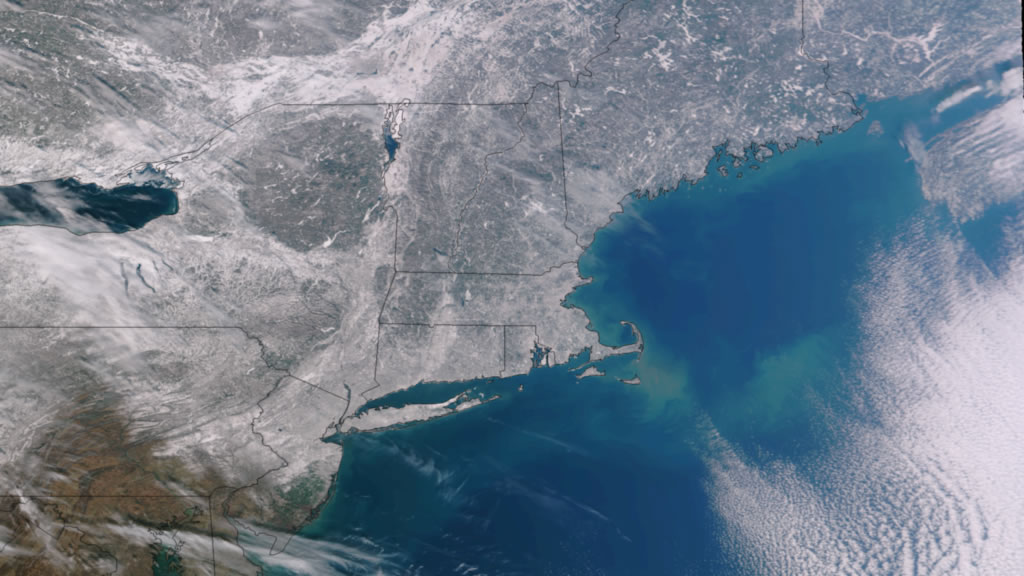 VIIRS data image of the northeastern U.S. after a February 2013 snowstorm