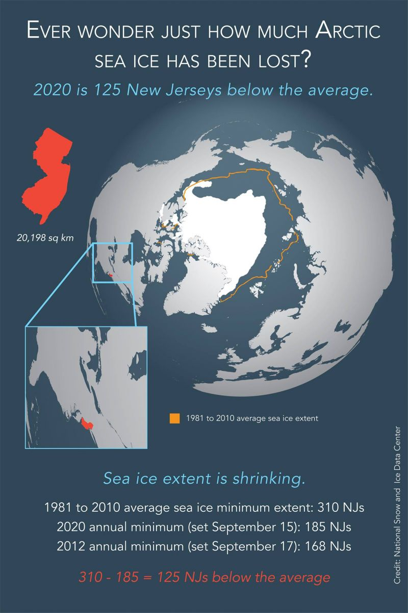 Arctic sea ice loss measured in Jerseys