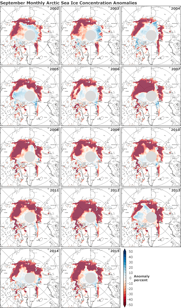 Sea ice extent maps 2004-2012