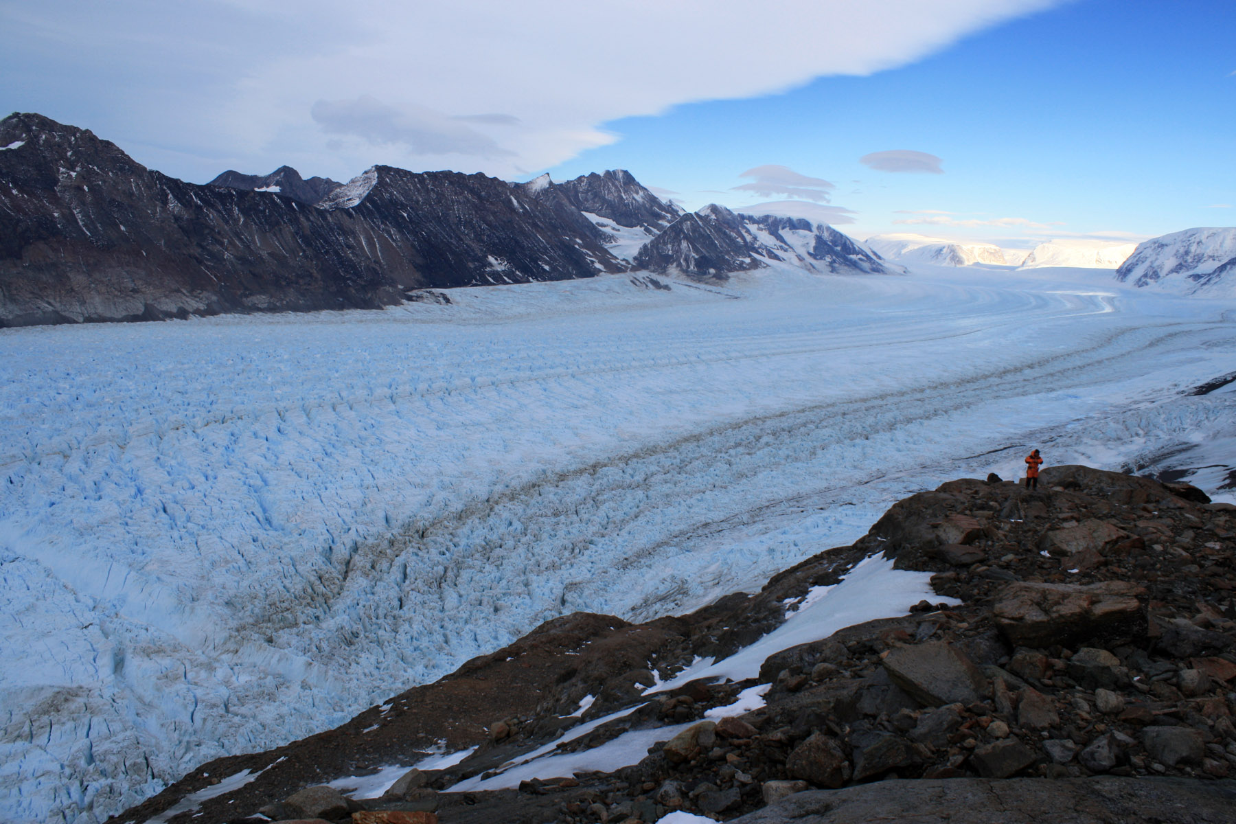 The calving front of Crane Glacier in Antarctica