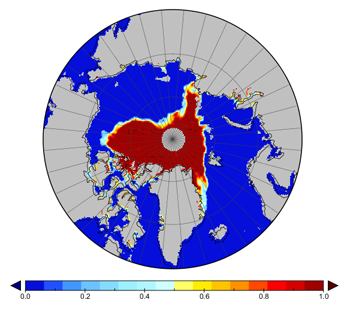 September 2007 Arctic sea ice concentration