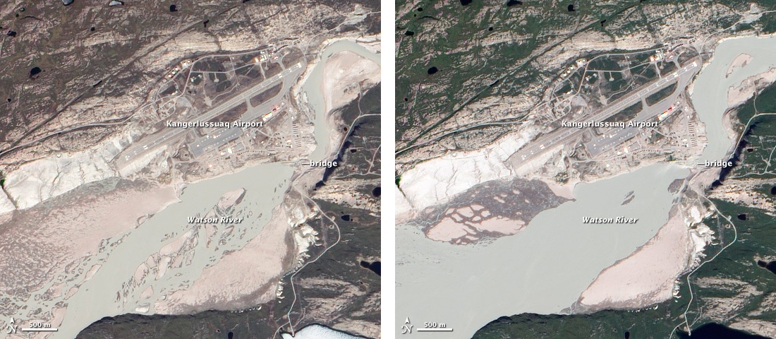 Satellite images showing Watson River flooding after the record 2012 Greenland surface melt