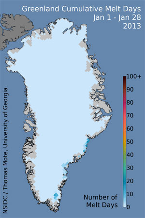 Data image showing cumulative melt days on the Greenland Ice Sheet, January 1-28, 2013