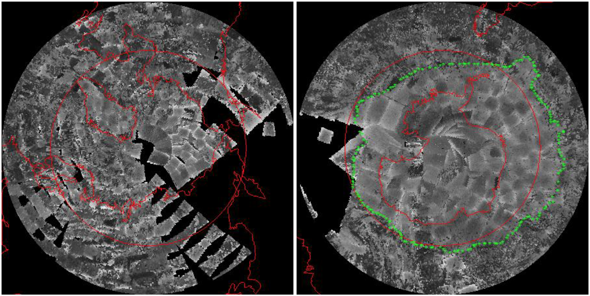 The National Snow and Ice Data Center scanned close to 40,000 images from Nimbus 1 satellite data to produce the earliest satellite images of Arctic and Antarctic satellite extent. The left image is a composite of the Arctic and the right image is a composite of the Antarctic. Credit: NSIDC