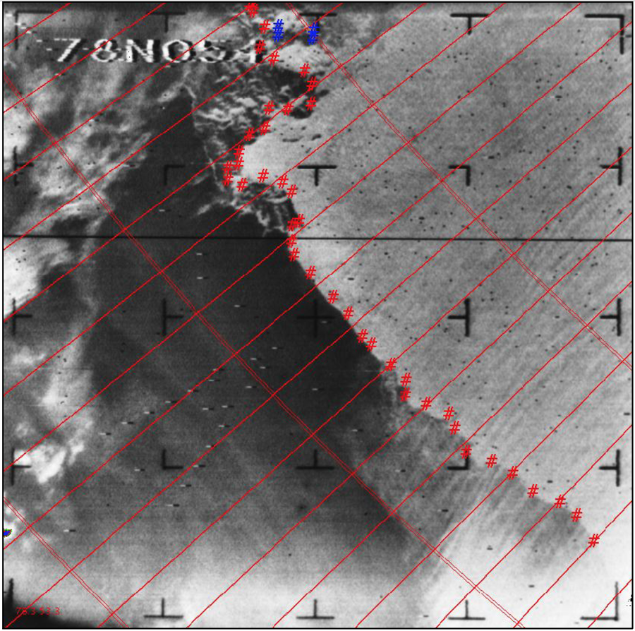 A single frame image of the Arctic ice edge north of Russia near Franz Josef Land (centered at 78 degrees North and 54 degrees East) on September 4, 1964, after processing by the National Snow and Ice Data Center. The estimated boundary between the ice and ocean is marked by red hash tags; openings, or leads, within the ice are marked by blue hash tags. Credit: NSIDC