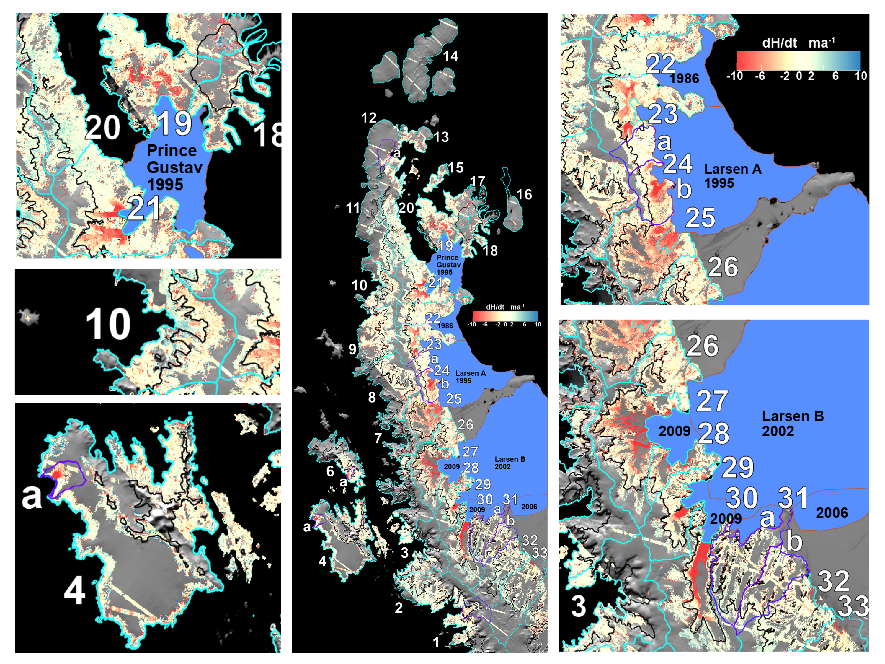 This map shows elevation change rates for major and minor glacier basin or islands for the northern Antarctic Peninsula study area. Cyan outlines indicate the measured study basins and islands. Major ice shelf retreat areas since 1980 are indicated in blue, including the 1995 and 2002 ice shelf major collapse events. Credit: Terry Haran, NSIDC