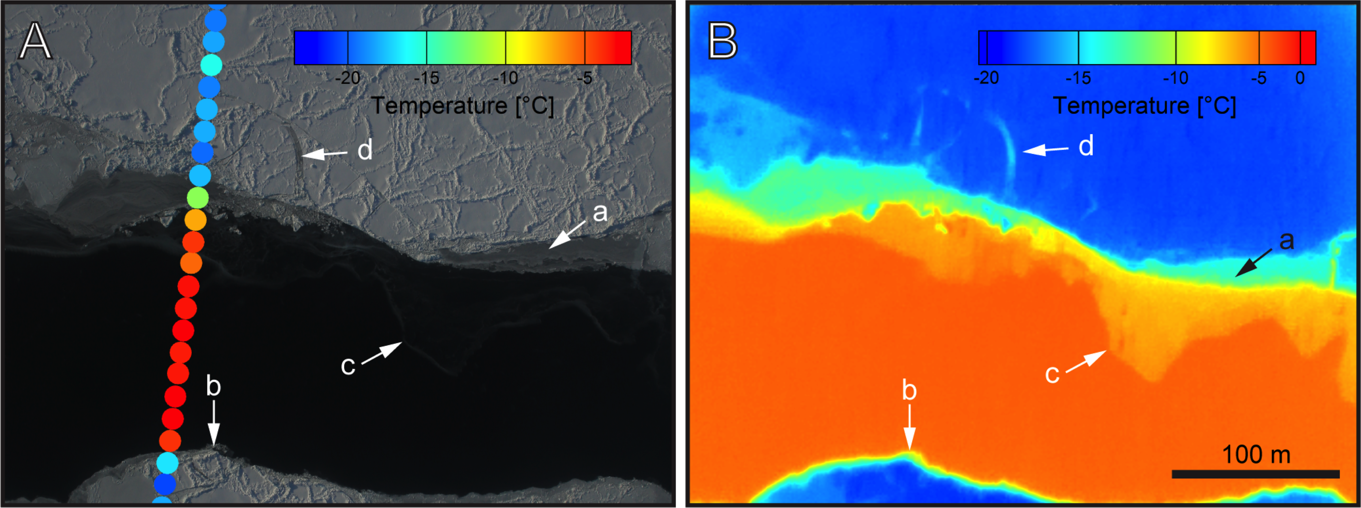 FLIR cameras help scientists map thinner ice that can't be seen my many sensors. Image A is from the Digital Mapping System (DMS) camera, while image B is a FLIR image of the same area. a) Shows thermal imaging reveals thickness changes with different temperatures. b) shows temperature gradients across edge of lead. c) The thermal image reveals very thin ice that is difficult to identify in the DMS image and can lead to a bias in ice thickness estimates. d) Small scale features can be resolved with this camera.  Credit: NASA IceBridge